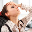 Business woman tired depressed in office — Stock Photo