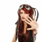 Depression teen girl informal ciber punk — Stock Photo