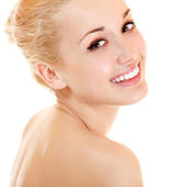 Beauty portrait of young beautiful woman happy smiling — Stock Photo