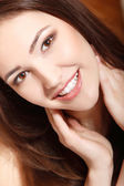 Teen girl beauty face happy smiling — Stock Photo