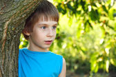 Boy touch forest tree nature outdoor — Stock Photo