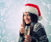Woman christmas young beautiful smiling with glass of champagne — ストック写真