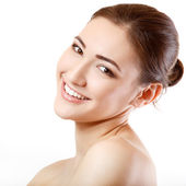 Teen girl beauty face happy smiling and looking at camera — Stock Photo