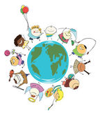 Earth globe of happy children — Стоковое фото