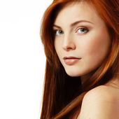 Teenager girl beautiful red hair cheerful enjoying — Stock Photo