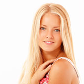 Teenager girl beautiful cheerful — Stock Photo