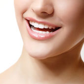 Smile of beautiful woman with great healthy white teeth. — Photo