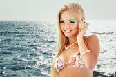 Teenager girl mermaid beautiful calling phone with shell — Stock Photo
