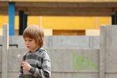 Little boy child cute with dandelion outdoor portrait — Stock Photo