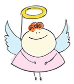 Angel girl sweetie child happy smiling with wings - cartoon people vector illustration — Stock fotografie