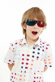 Boy happy with 3d glasses isolated on white — Stock Photo