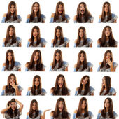 Teen girl attractive set make faces isolated on white — Stock Photo
