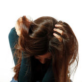 Teen girl in hard depression cried lonely — Stock Photo
