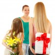 Daughters send greetings and presents to mother — Stock Photo #33647925