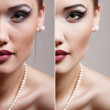 Retouch - face of beautiful young woman before and after retouch — Stock Photo