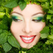Woman beauty face with greens vegetables frame — Stock Photo #33646391
