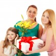 Daughters send greetings and presents to mother — Stock Photo