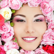 Beautiful female face with flowers roses frame — Stock Photo