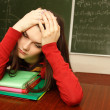 Student teen girl beautifyl tired in empty classroom university  — Stock Photo