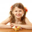 Happy little girl sitting at table with sweet cake — Stock Photo #33647009