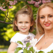 Happy mother with little daughter spring park outdoor — Stok fotoğraf #33647611