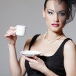 Beautiful woman in veil retro glamour beauty portrait with cup of tea or coffee — Stock Photo