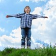 Stock Photo: Happy little boy standing on green grass