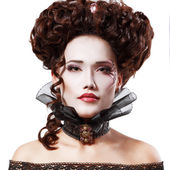 Woman beautiful halloween vampire baroque aristocrat — Stock Photo