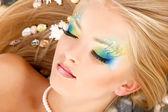 Teenager girl mermaid beautiful make-up — Stock Photo