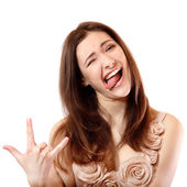 Funny teen girl happy ecstatic make faces and gesturing with her hand — Stock Photo