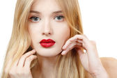 Beautiful woman face closeup with long blond hair and vivid red lipstick — Stock Photo