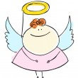 图库矢量图片: Angel girl sweetie child happy smiling with wings - cartoon people vector illustration set