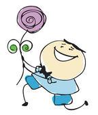 Boyfriend holding flower with acceptance - cartoon people vector illustration set — Stock Vector