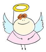 ангел милый ребенок счастливой улыбкой с крыльями - мультфильм люди векторные иллюстрации набор — Cтоковый вектор