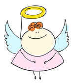 Angel girl sweetie child happy smiling with wings - cartoon people vector illustration set — Stock Vector