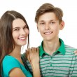 Teens cheerful sister and brother — Stock Photo