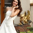 Stock Photo: Bride portrait against residential house