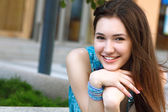 Beautiful young brunette girl — Stok fotoğraf