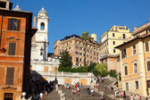 Spanish Steps and church of Trinita dei Monti — Stock Photo