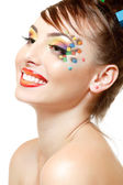 Woman with art cube abstract make-up — Stockfoto