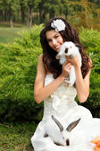 Bride smiling playing with cute rabbits over park — 图库照片