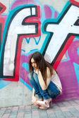 Retrato ao ar livre de menina bonita — Foto Stock