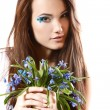 Teen girl smell fragrance of flowers — Foto Stock #38400147