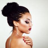 Young mulatto fresh fashion woman — Stock Photo