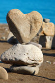 Heart of rock with balanced stones — Stock Photo