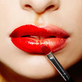 Female lips with red lipstick — Stock Photo