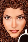 Coffee woman beauty face — Стоковое фото