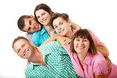 Big caucasian family having fun and smiling — Stock Photo