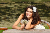 Woman with dandelions — Stock Photo