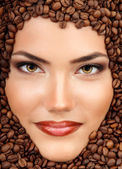 Coffee young woman smiling face — Stock Photo